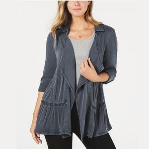 NWT Style & Co Tiered Roll-Tab Sleeve Jacket #2437